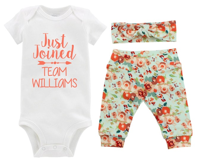 Fall Just Joined Team Personalized Going Home Outfit Mint Green Orange Red Floral Yoga Leggings Headband Infant Outfit Last Name