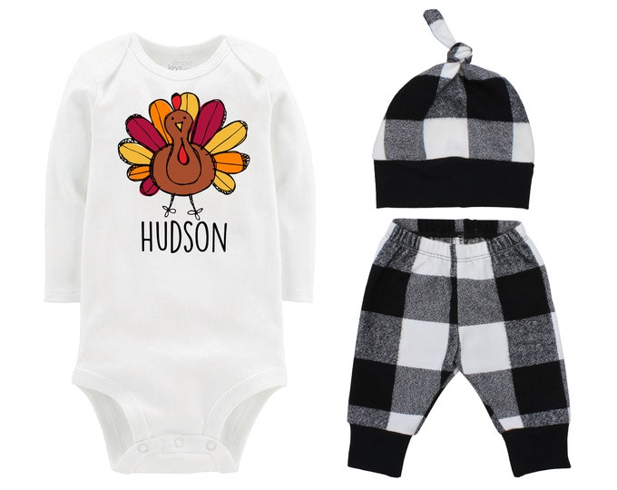 Boy Thanksgiving Outfit Personalized Scribble Turkey Fall Baby Outfit Fall Plaid Knot Hat Turkey Black White Pants Boyish Thanksgiving