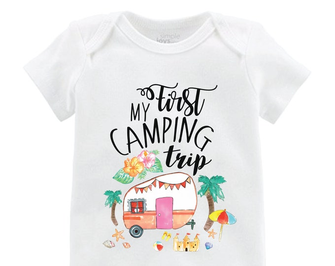 My First Camping Trip Beach Camping Girl Camping Bodysuit Girl Camping Shirt Palm Trees Camper Beach Sand Castle Camping Shirt Little Girl