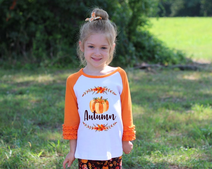 Fall Pumpkin Ruffle Raglan Shirt Personalized Flutter Sleeve  Fall Floral Girl Shirt Monogram Watercolor Pumpkin Floral Orange Flowers