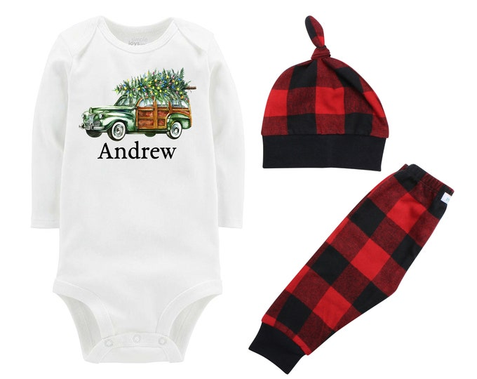 Boy Christmas Outfit Personalized Old Green Car Christmas Tree Lights Bodysuit Buffalo Plaid Pants Winter Boy Red Black Buffalo Plaid
