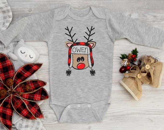 Boy Christmas Shirt Crazy Reindeer Personalized Red Gray Raglan Funny Reindeer Buffalo Plaid Reindeer Name Shirt Boy Toddler Baby Youth