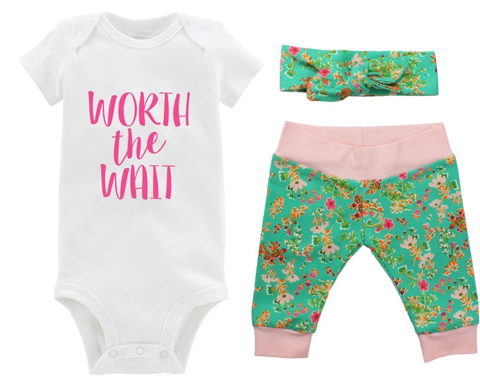 Worth the Wait Newborn Going Home Outfit Baby Infant Set Pink Floral Yoga Leggings Knot Headband Pink Green Flower Infant Gift Set