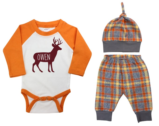 Deer Personalized Outfit Fall Boy Raglan Stag Buck Forest Last Name Going Home Outfit Fall Plaid Pants Knot Hat Gray Orange Baby Raglan