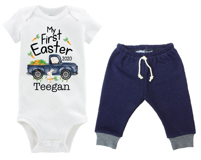 Boy First Easter Outfit Personalized Baby Easter Bunny Truck Boy Jeggings Carrots Going Home Outfit Navy Gray Boy Baby Gift Boyish Bunny