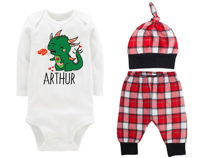 Baby Boy Valentine's Day Dragon Personalized Outfit Boy Valentines Day Hearts Dragon Bodysuit Baby Boy Buffalo Plaid Flannel Pants