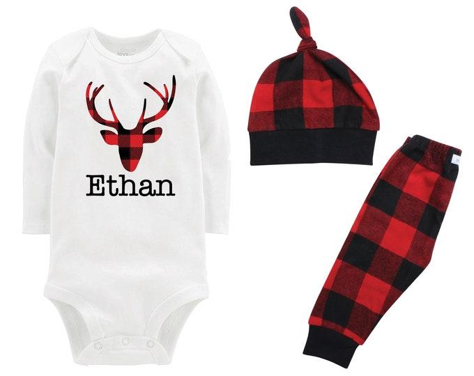 Boy Plaid Christmas Deer Personalized Outfit Buck Antlers Boy Christmas Bodysuit Buffalo Flannel Pants Winter Boy Red Black Buffalo Plaid