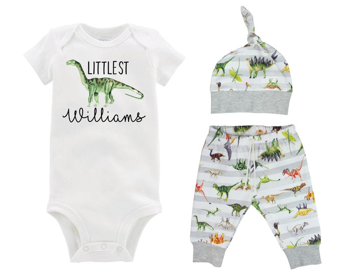 Boy Littlest Personalized Dinosaur Outfit T-Rex Tyrannosaurus  Boy Gray White Boy Leggings Green Dinosaurs Going Home Outfit Boy Baby Gift