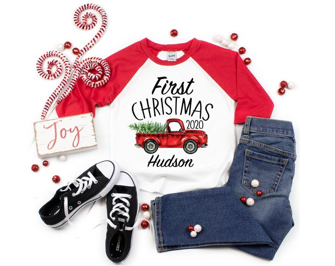 Unisex First Christmas Red Truck 2020 Personalized Raglan Shirt Black Red Girl Boy First Christmas Tree Baby Toddler Youth Sizes Baby Raglan