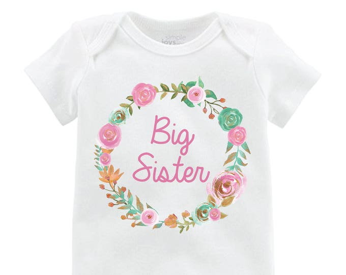 Big Sister Little Sister Shirt Mint Pink Gold Little Sister Onesie Floral Big Sister Floral Wreath Little Sister Baby Sister Shirts