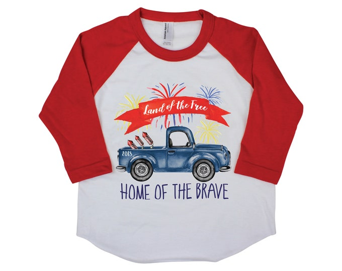 Boy Truck 4th of July Shirt Fireworks Land of the Free Home of the Brave Raglan T-Shirt 4th of July Onesie Old Blue Truck Boy Shirt