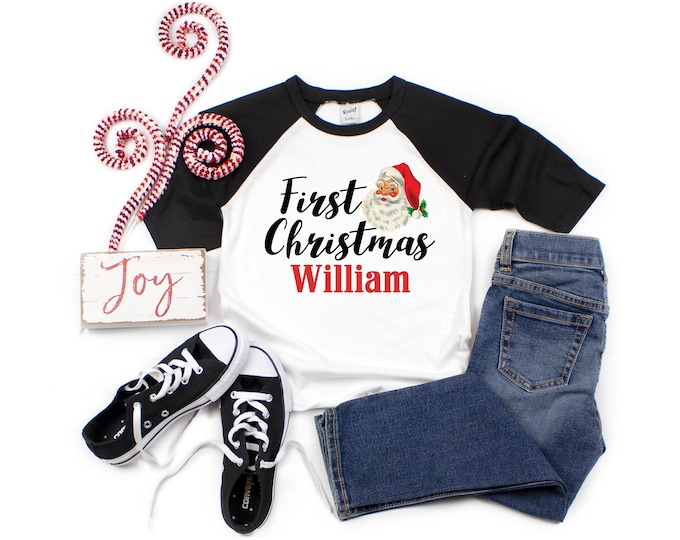 Unisex First Christmas Santa Personalized Raglan Shirt Black Red Boy First Christmas Santa Claus Tree Baby Toddler Youth Sizes Baby Raglan