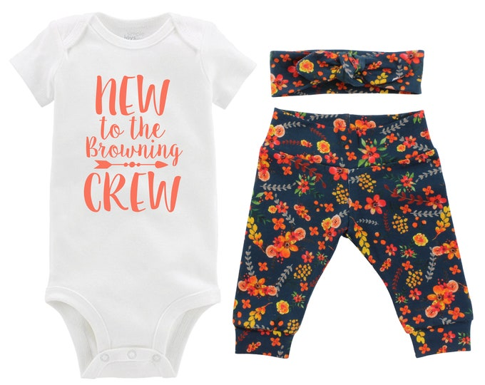 Fall New to the Crew Personalized Going Home Outfit Teal Watercolor Floral Yoga Leggings Headband Infant Outfit Floral Last Name