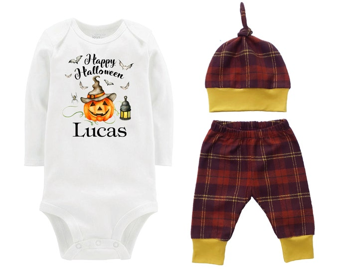 Happy Halloween Jack-O-Lantern Personalized Outfit Fall Baby Outfit Fall Plaid Pants Knot Hat Black Brown Mustard Boyish Halloween Onesie
