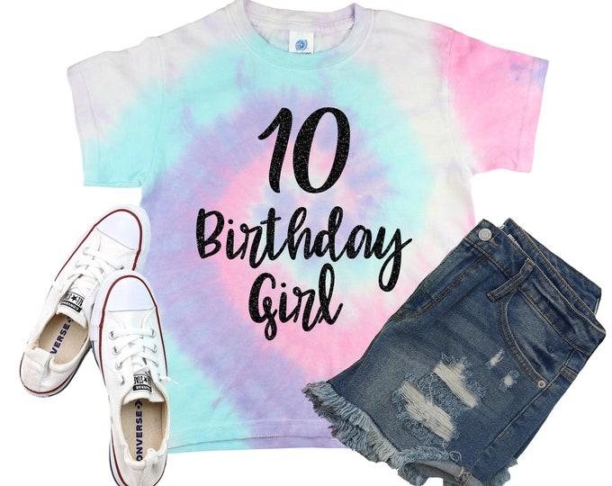 Birthday Girl Unicorn Tie Dye Shirt Personalized Bright Black Glitter Vinyl Birthday Girl Shirt Birthday Shirt Girl Tie Dye Birthday Shirt