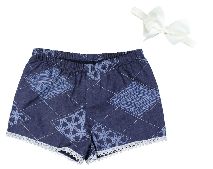 Girls Denim Shorts Baby Shorts Lace Trimmed Shorts Baby Bow Denim Lace Ribbon Check Print Child American Made Handmade Girl Baby Clothing