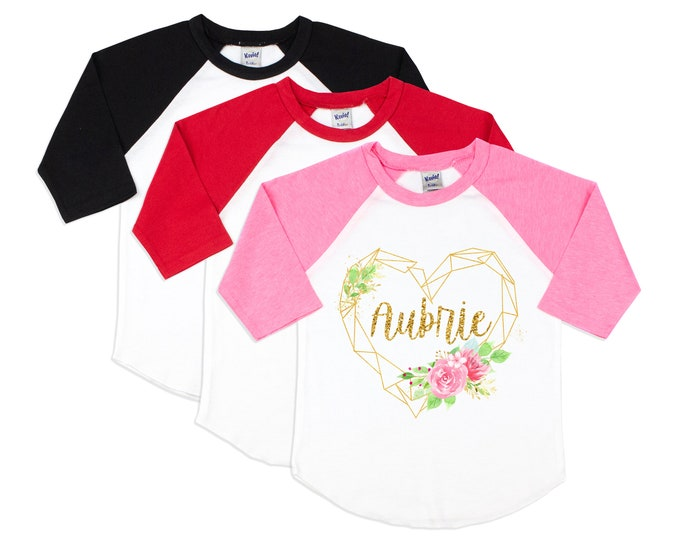 Girl Valentine's Day Shirt Watercolor Floral Heart Personalized Gold Glitter Name Shirt Valentine Raglan Shirt for a Girl Monogram Heart