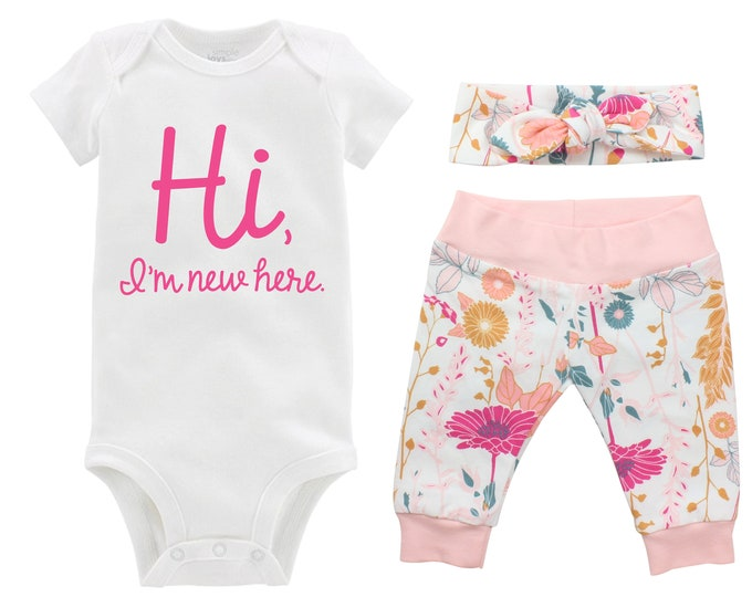 Hi I'm New Here Newborn Going Home Outfit Baby Infant Set Pink Floral Yoga Leggings Knot Headband Pink White Flower Infant Gift Set