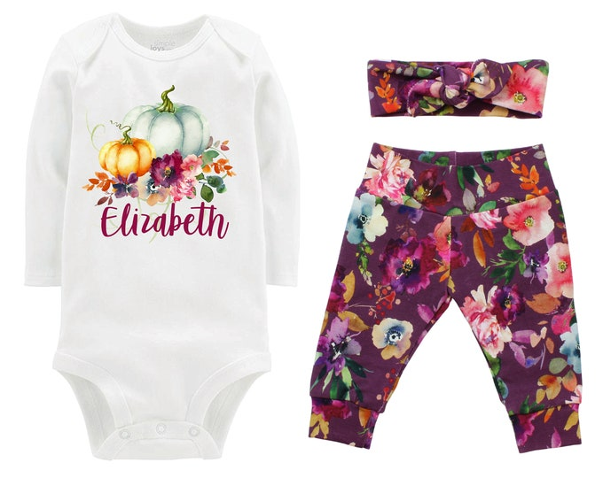 Girl Personalized Fall Pumpkin Outfit Watercolor Floral Yoga Leggings Headband Infant Fall Outfit Floral Pumpkins Mauve Orange Mint