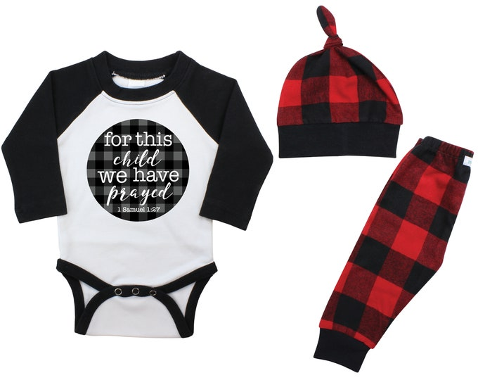 Boy For this Child We Have Prayed Coming Home Outfit Going Home Raglan Outfit Gray Buffalo Plaid Pants Fall Baby Buffalo Check Infertility