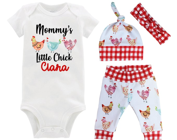 Mommy's Little Chick Baby Girl Outfit Chicken Farm Baby Outfit Going Home Personalized Yoga Leggings Knot Hat Headband MaMa's MiMi's Nana's