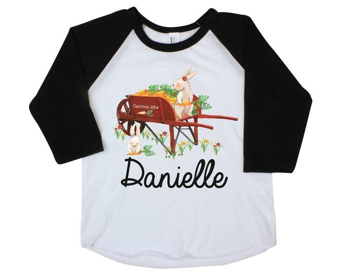 Girl Bunny Easter Shirt Easter Bunny Personalized Shirt Onesie Black Raglan Flutter Sleeve Girl Shirt Monogram Shirt Easter Rabbit Flowers