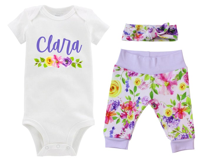 Personalized Newborn Going Home Outfit Girl Baby Name Pink Purple Yellow Watercolor Floral Yoga Pants Knot Headband Infant Gift Set Monogram