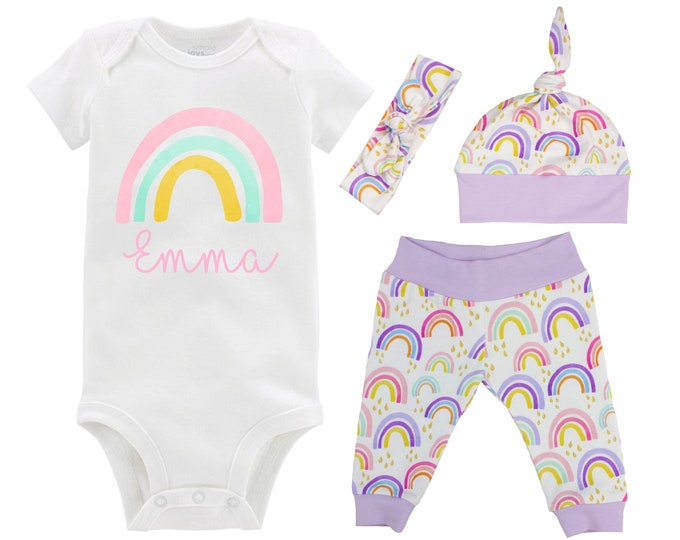 Our Rainbow Baby Girl Coming Home Outfit Personalized Watercolor Rainbow Yoga Leggings Knot Hat Headband Infertility Miscarriage Infant Loss