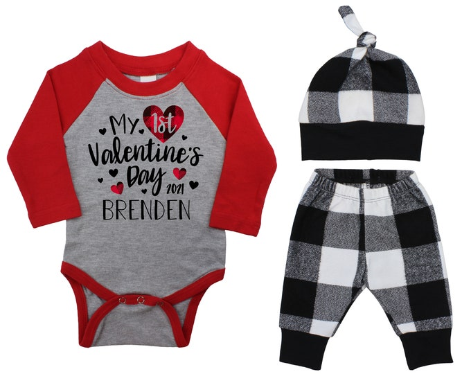 My First Valentine's Day 2021 Red Black Plaid Personalized Raglan Outfit Boy Valentines Day Bodysuit Hearts Buffalo Plaid Flannel Pants