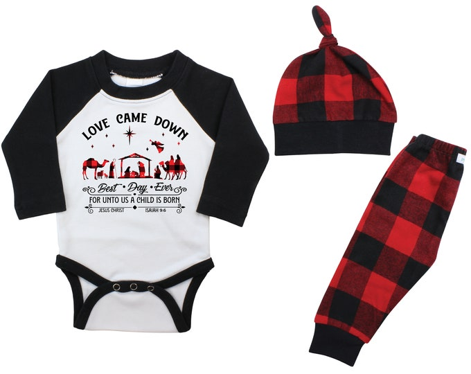 Love Came Down Christmas Raglan Outfit Bodysuit Manger Scene Jesus Nativity Unisex Christmas Buffalo Flannel Pants Winter Red Buffalo Plaid