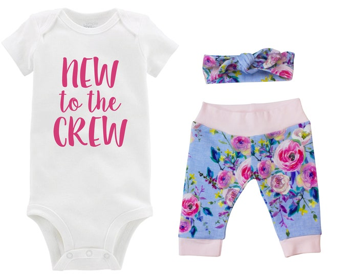 Girl Going Home Outfit New to the Crew Newborn Baby Infant Set Yoga Leggings Headband Watercolor Floral Infant Gift Set Baby Shower Gift