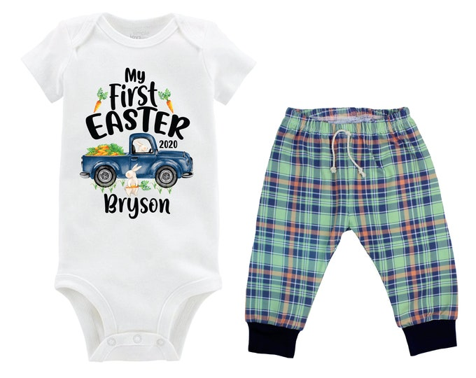 Boy First Easter Outfit Personalized Baby Easter Bunny Truck Boy Plaid Pants Carrots Going Home Outfit Mint Navy Boy Baby Gift Boyish Bunny