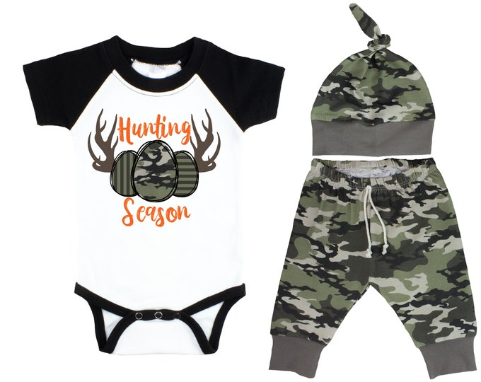 Hunting Season Boy Easter Outfit Egg Hunting Black Raglan Camo Pants Hat Top Knot Hat Short Long Sleeves Camouflage Antlers
