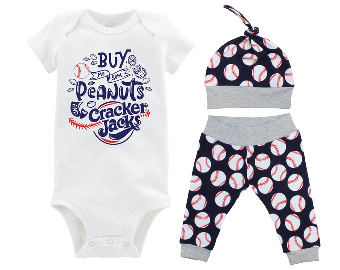 Peanuts and Cracker Jacks Boy Baseball Going Home Outfit Baby Coming Home Outfit Yoga Pants Blue Gray Baseball Boy Knot Hat Baby Gift