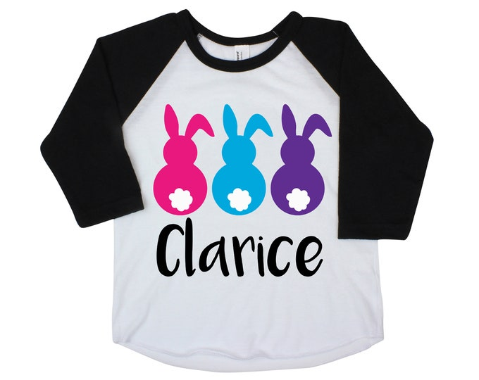 Easter Bunny Cotton Tails Personalized Girl Easter Shirt Bright Bunnies Raglan Shirt Pink Purple Bright Girly Rabbits Pink Purple Blue Peeps