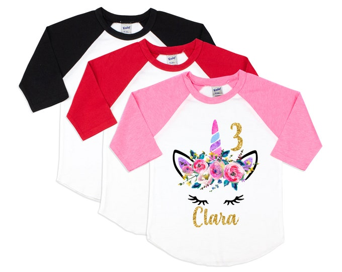 Birthday Unicorn Face Shirt Watercolor Floral Unicorn Face Personalized Gold Glitter Name and Number Age Monogram Pink Purple Blue Gold