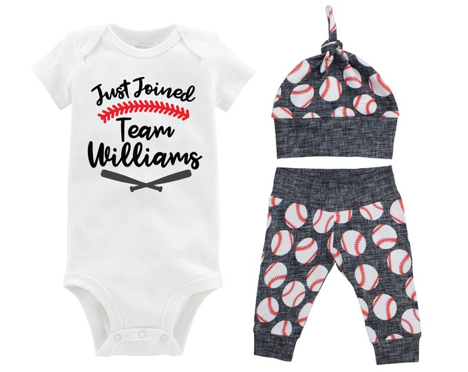 Boy Baseball Going Home Outfit Just Joined Team Personalized Baby Coming Home Outfit Yoga Pants Black Gray Baseball Boy Knot Hat Baby Gift