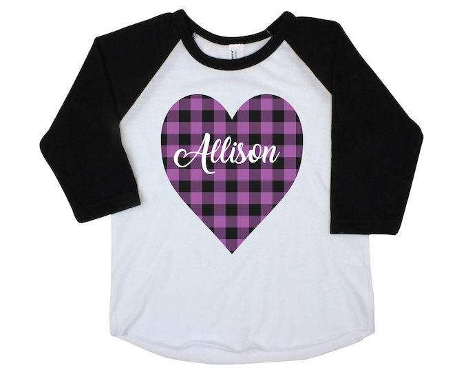 Girl Buffalo Plaid Heart Shirt Valentine's Purple Plaid Heart Personalized Onesie Black Raglan Girl Shirt Valentine's Day Black Raglan Name