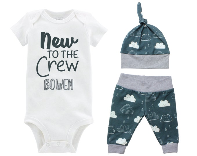New to the Crew Boy Going Home Set Personalized Onesie Bodysuit Infant Gift Set Clouds Boy Coming Home Outfit New Baby Shower Gift Newborn
