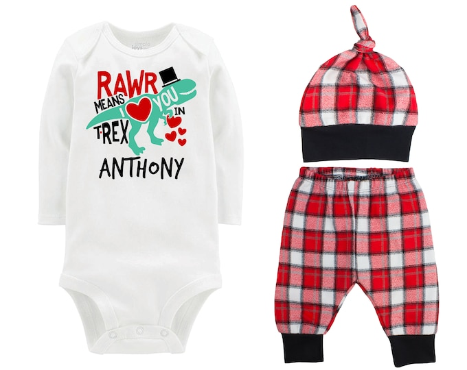 Baby Boy Valentine's Day Dinosaur Personalized Outfit Boy Valentines Day Rawr Means I Love You In Trex Buffalo Plaid Flannel Pants