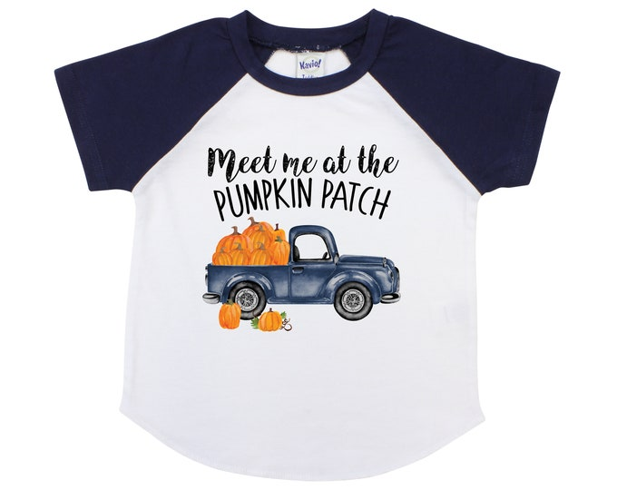 Boy Meet Me at the Pumpkin Patch Old Blue Truck Boy Pumpkin Patch Shirt Boyish Fall Shirt Truck with Pumpkins Vintage Truck Shirt