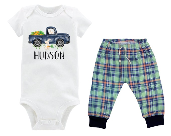Boy Easter Outfit Personalized Baby Easter Bunny Truck Boy Plaid Pants Carrots Going Home Outfit Mint Navy Boy Baby Gift Boyish Bunny