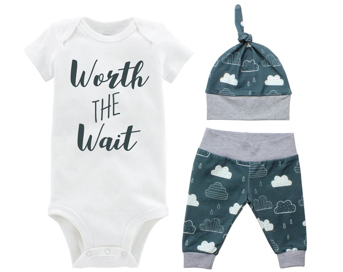 Boy Worth the Wait Going Home Set Onesie Bodysuit Infant Gift Set Clouds Boy Coming Home Outfit New Baby Shower Gift Infertility Clouds Rain