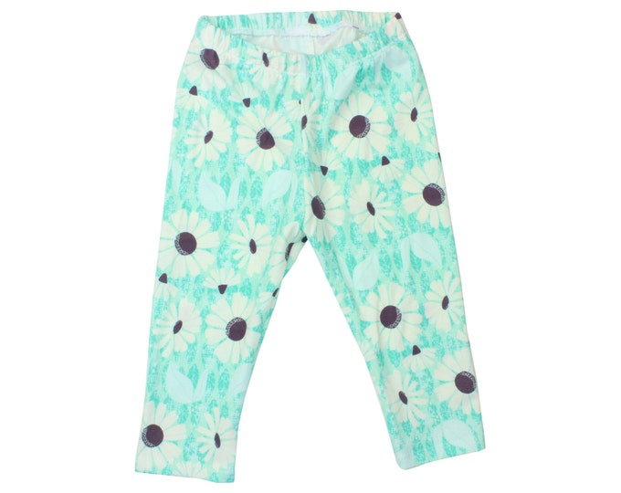Mint Daisy Baby Leggings Flower Toddler Leggings Girl Leggings Floral Leggings Mint Girl Baby Pants Floral Baby Gift Mint Baby Leggings