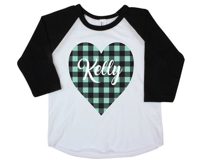 Girl Valentine Raglan Buffalo Plaid Heart Shirt Valentine's Mint Plaid Heart Personalized Onesie Black Raglan Girl Shirt Valentine's Day