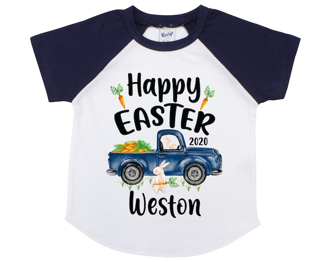 Boy Easter Shirt Happy Easter Truck and Bunny Shirt Personalized Easter Shirt Bunny and Carrots Old Blue Truck Carrying Carrots