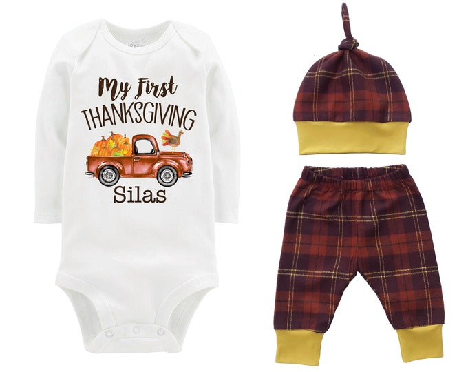 Boy First Thanksgiving Outfit Fall Baby Outfit Fall Plaid Pants Knot Hat Turkey Pumpkins Old Truck Rust Mustard Pants Boyish Thanksgiving