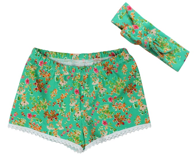 Girls Shorts Baby Shorts Lace Trimmed Shorts Baby Headband Green Wildflowers Floral Pattern Child American Made Handmade Girl Baby Clothing