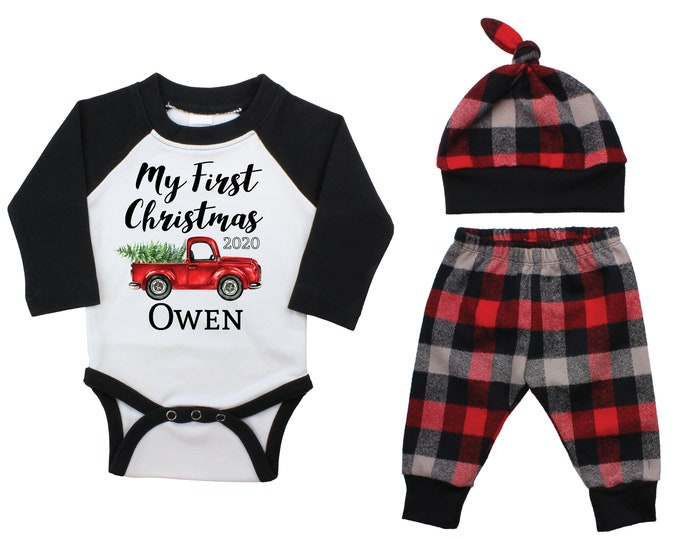 My First Christmas Forest Red Truck Personalized Outfit Winter Boy Raglan Outfit Red Christmas Tree Plaid Pants Knot Hat Black Baby Raglan