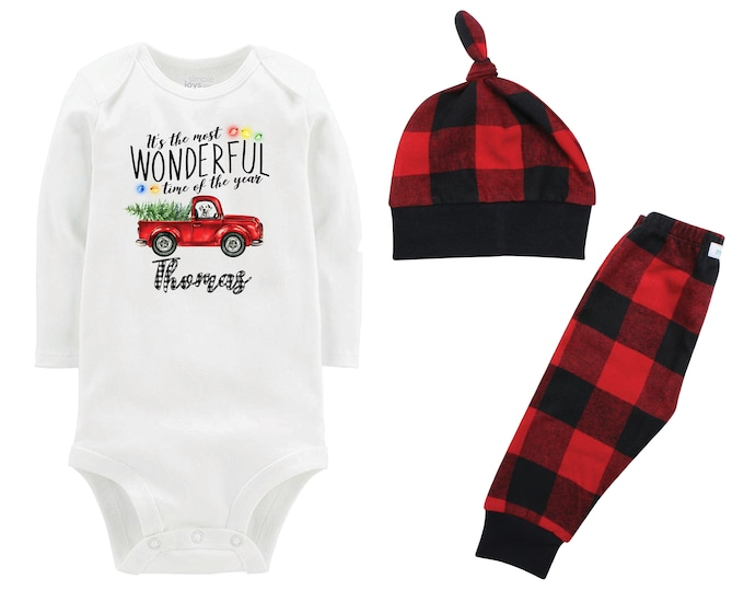 It's the Most Wonderful Time of the Year Personalized Boy Christmas Tree Lights Outfit Red Truck Flannel Pants Winter Boy Red Plaid Pants